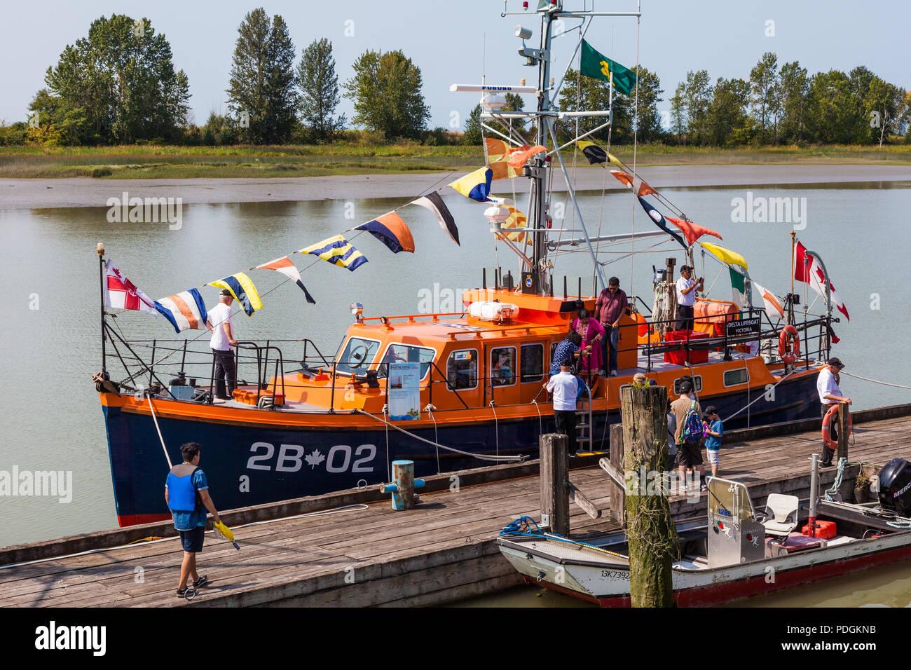 Steveston Lifeboat 2B-02 on display at the 2018 Steveston Maritime Festival - Stock Image