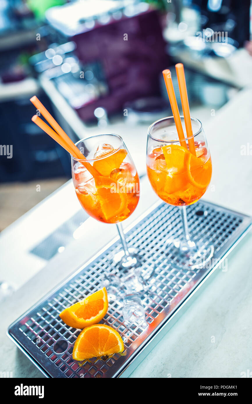 Aperol spritz drink on bar counter in pub or restaurant. - Stock Image