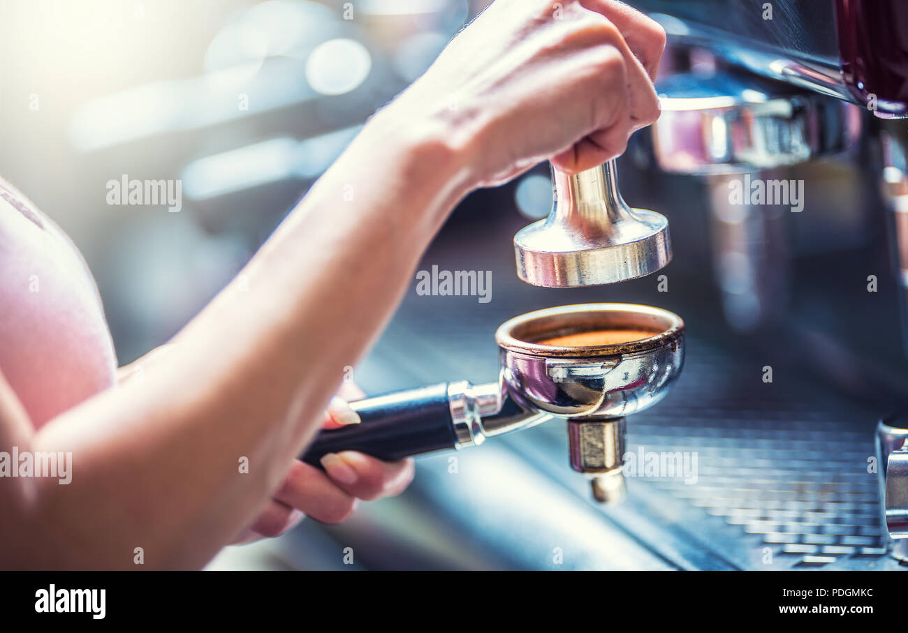 Barista woman making an espresso coffee with portafilter and coffee tamper. Stock Photo