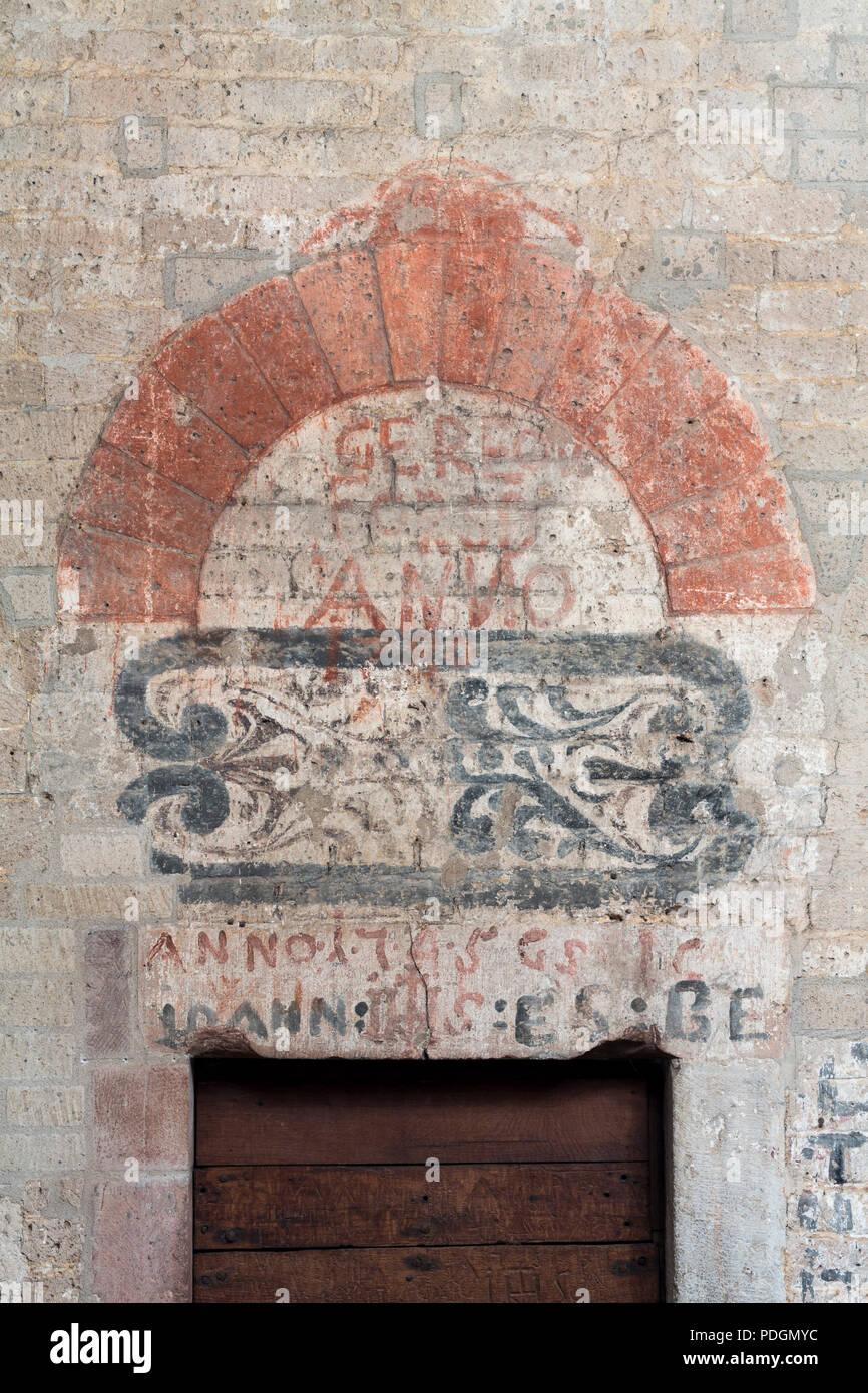 Malerei über einer Tür in der oberen Turmhalle - Stock Image
