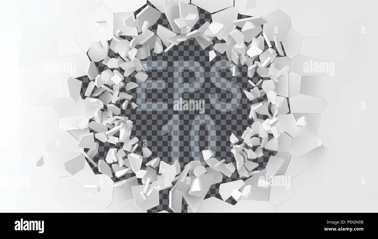 exploding wall with free area on center for any object or background. 3d style vector illustration. - Stock Vector
