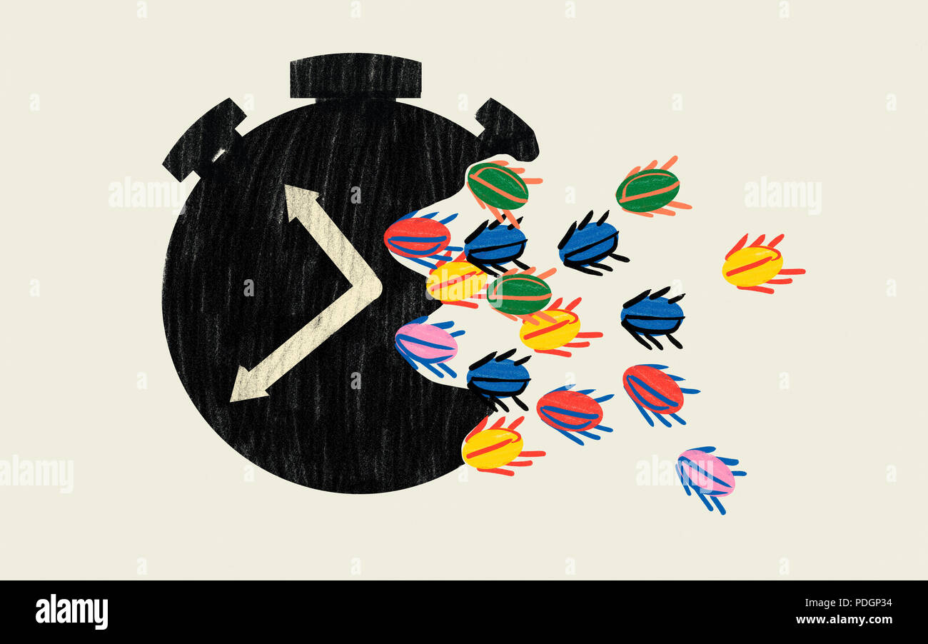 Loss of time at work. Procrastination epidemic. Conceptual colourful illustration - Stock Image