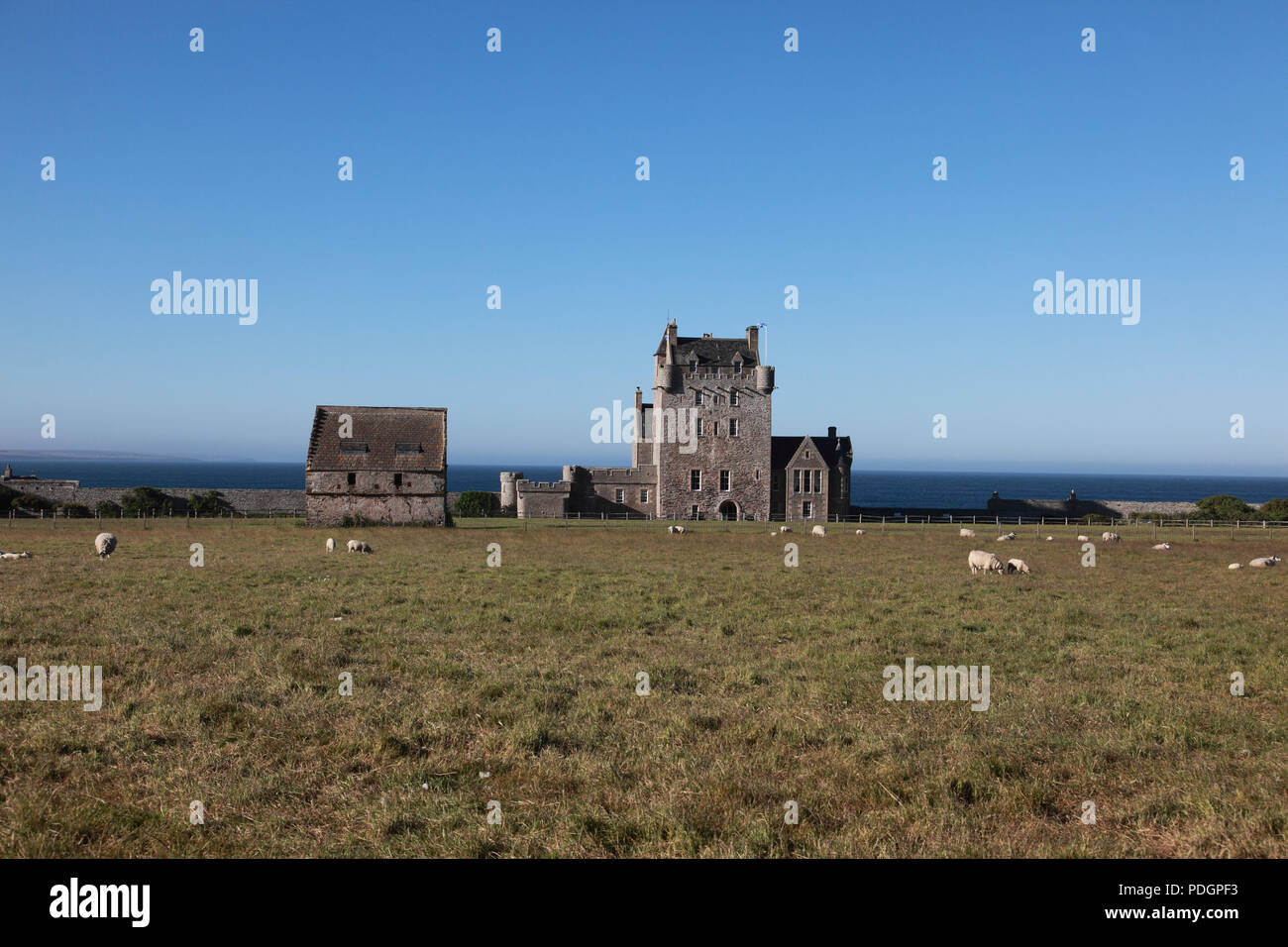Ackergill Tower Hotel near Wick, Caithness which overlooks the North Sea near the Pentland Firth Stock Photo