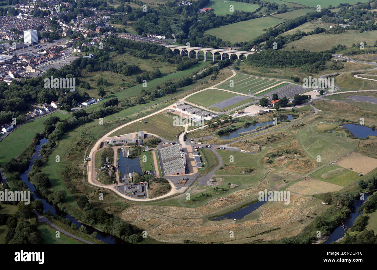 aerial view of the Kynren outdoor spectacular site at Bishop Auckland, County Durham - Stock Image