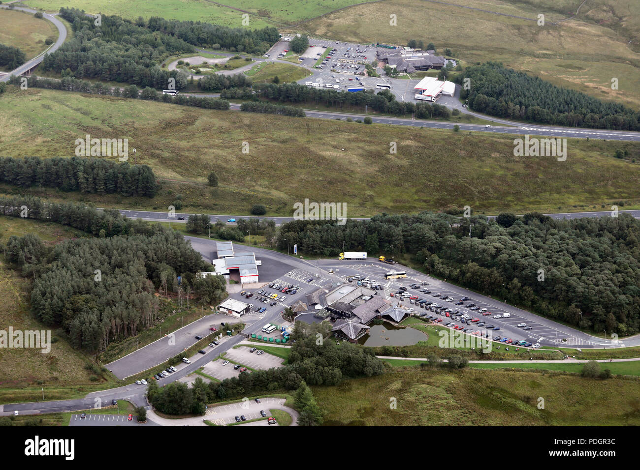 aerial view of Tebay Services Southbound and also Tebay Services Northbound (foreground) on the M6 Motorway, Cumbria - Stock Image