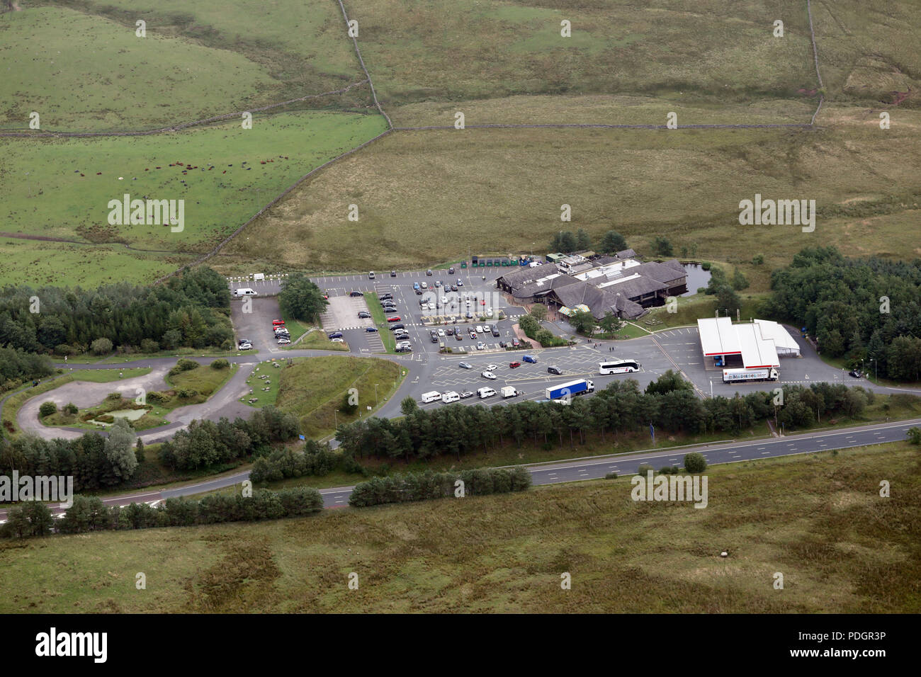 aerial view of Tebay Services Southbound on the M6 Motorway, Cumbria - Stock Image