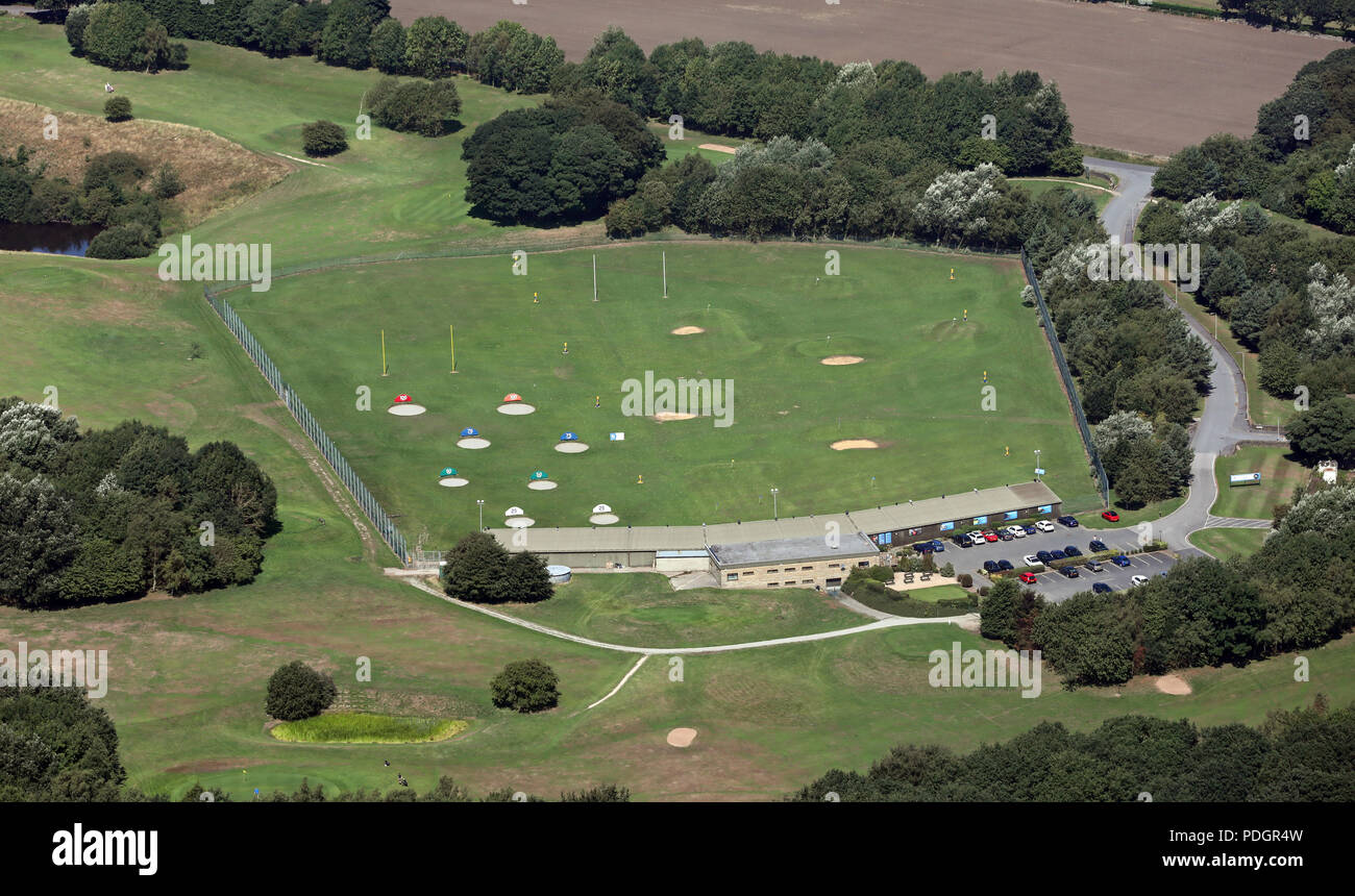 aerial view of the Express Golf Centre near Shipley, Bradford, West Yorkshire - Stock Image