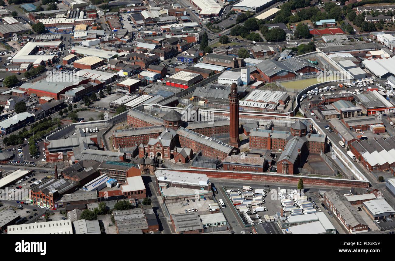aerial view of HMP Manchester, Strangeways Prison, Manchester - Stock Image