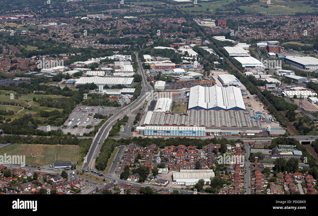 aerial view of Mono Pumps Ltd factory & the Middleton Junction area of Chadderton, Oldham, Manchester - Stock Image