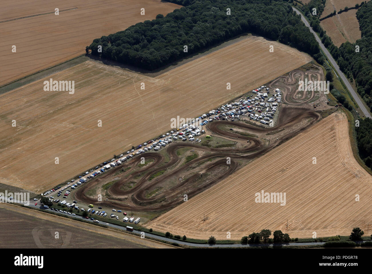 aerial view of Gale Common Motopark near Goole, Yorkshire - Stock Image