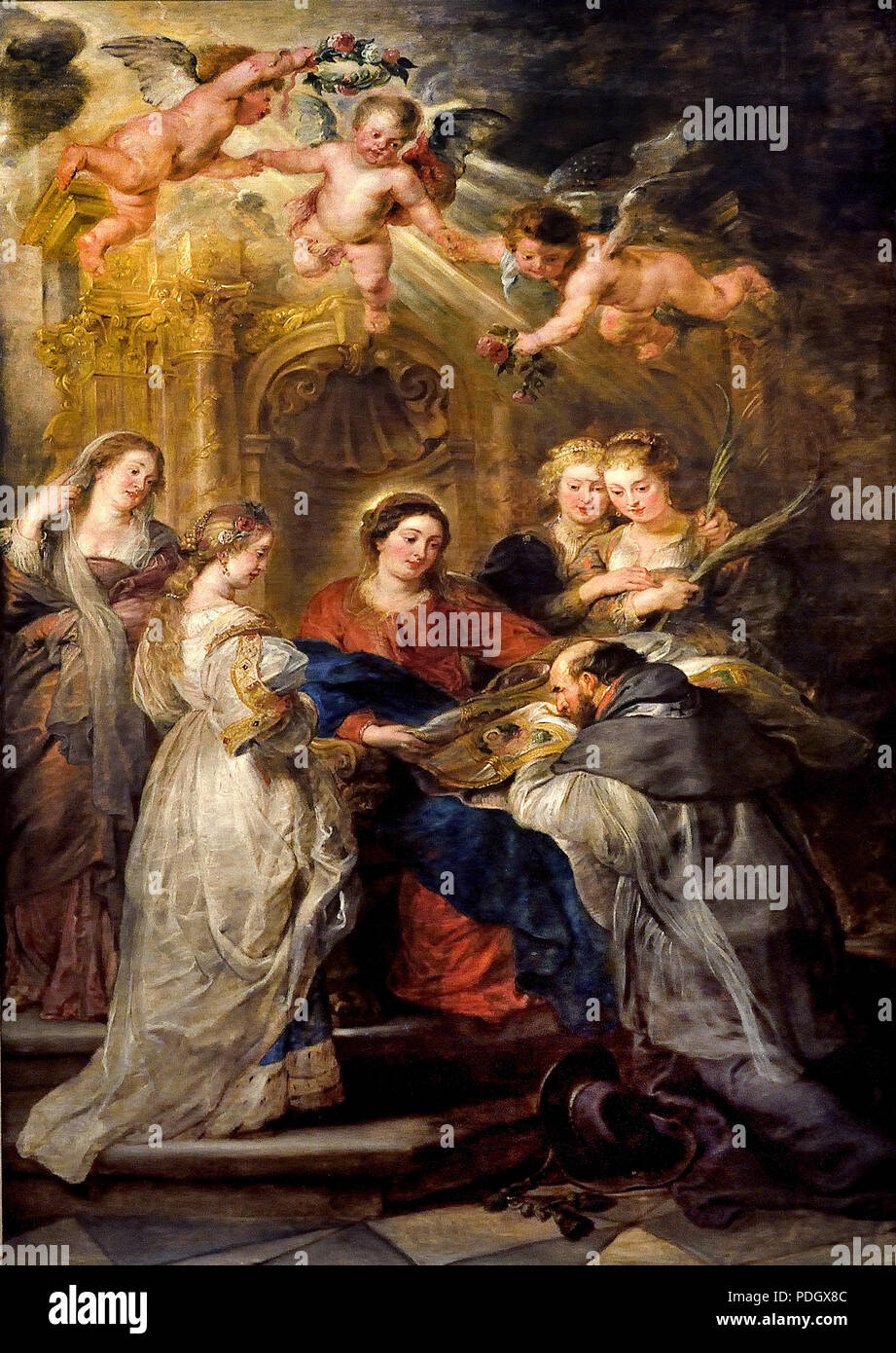ILDEFONSO ALTAR: MARIA APPEARS TO THE ST. ILDEFONSO (MEDIUM), ARCHANGEL ALBRECHT VII. (LEFT INNER WINGS) BZW. INFANTINE ISABELLA CLARA EUGENIA (RIGHT INTERNAL WINGS), BOTH WITH THEIR GUARDIAN PATRONS 1630/1632 Peter Paul Rubens (1577–1640) Flemish Belgian Belgium - Stock Image