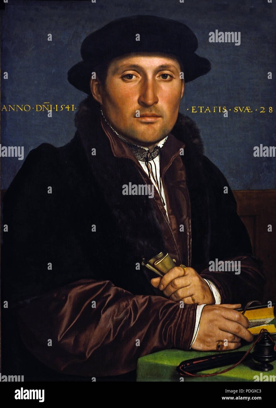 Portrait of a young businessman Hans Holbein (the Younger) (1497 Augsburg - 1543 London) German Germany - Stock Image