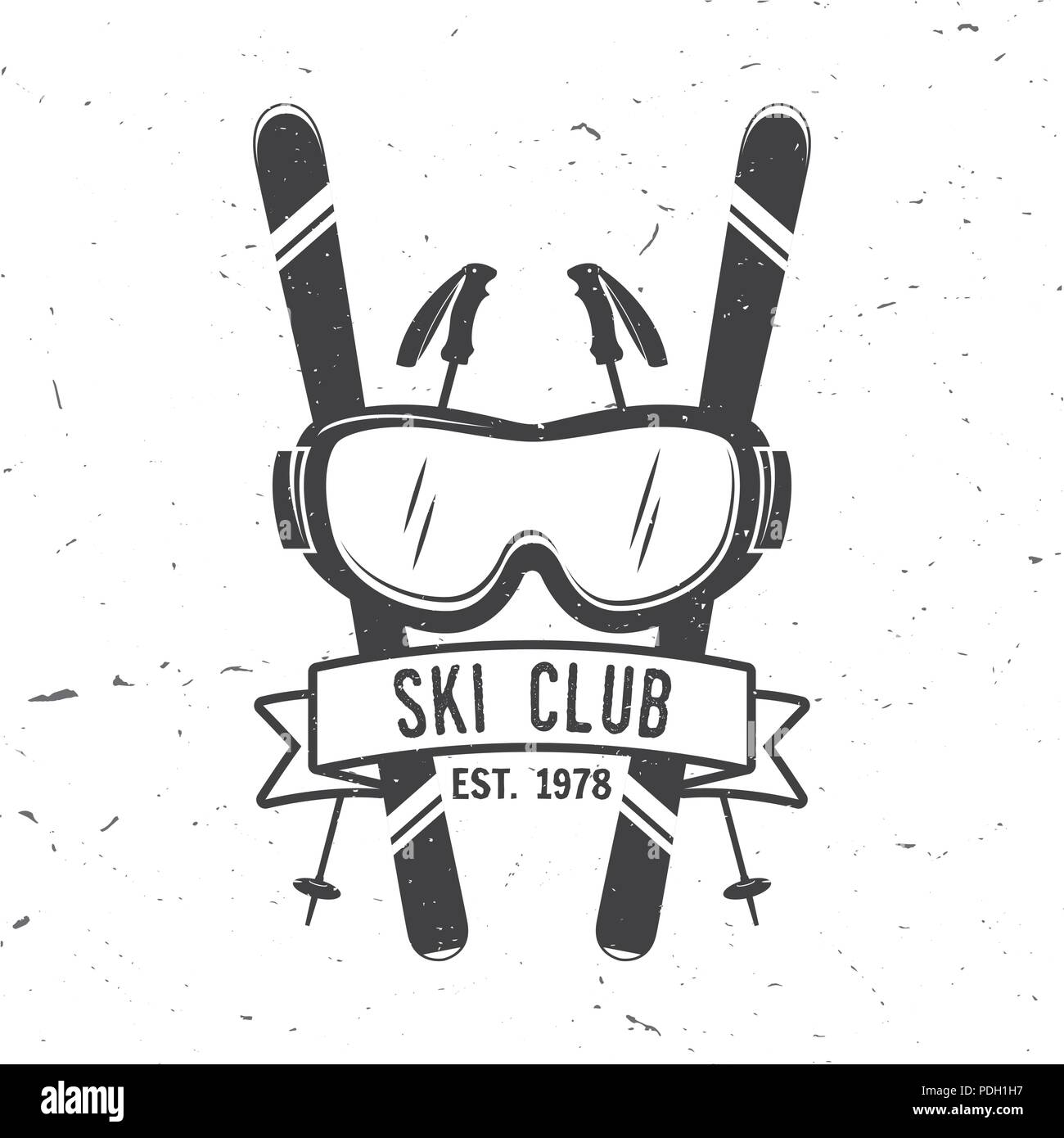 Ski club concept. Vector ski club retro badge. Concept for shirt, print, seal or stamp. Skis, mountain, ribbon and goggles. Typography design- stock v - Stock Image