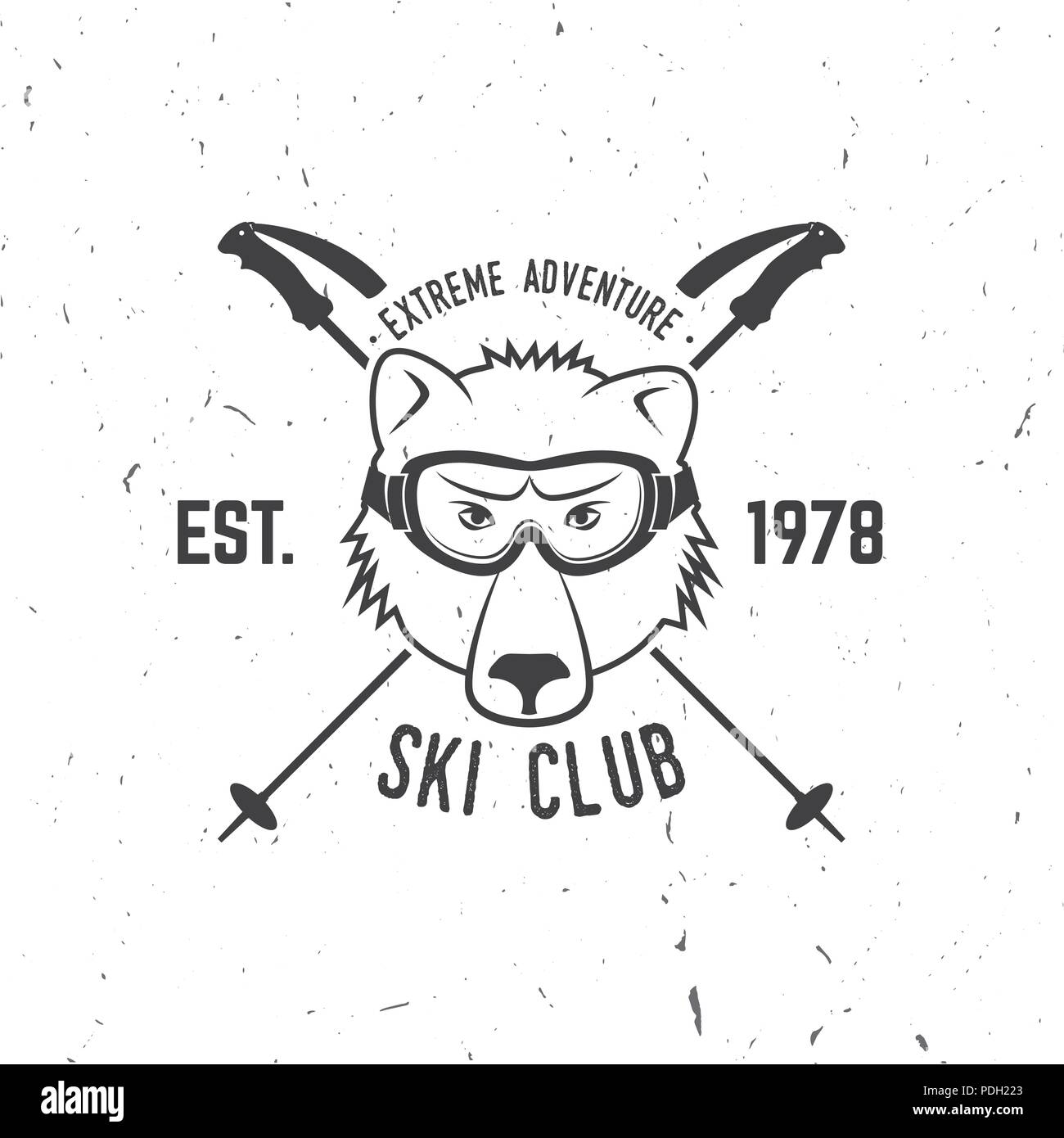 Ski club concept. Vector ski club retro badge. Concept for shirt, print, seal or stamp. Skis, mountain, bear and goggles. Typography design- stock vec - Stock Image