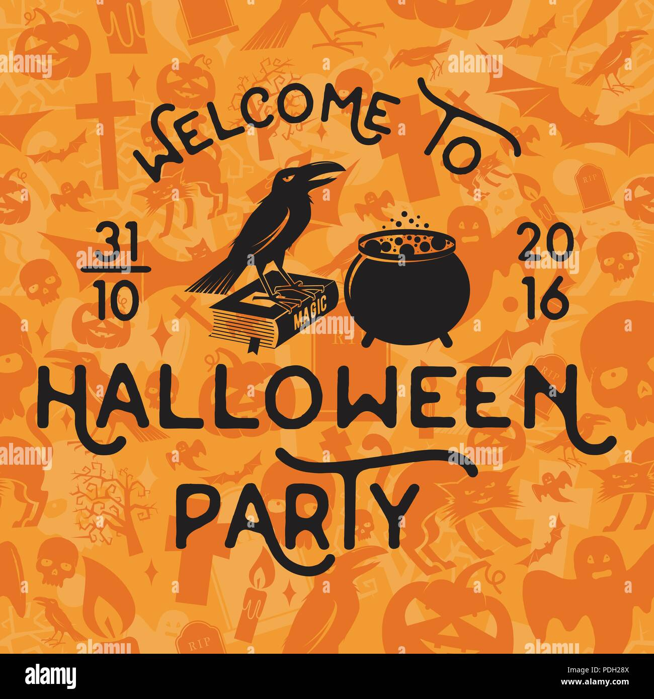 Welcome to Halloween party. Vector Halloween retro badge. Concept for shirt, logo, print, stamp, seal or patch. Crow, magic book and pot. Halloween de - Stock Image