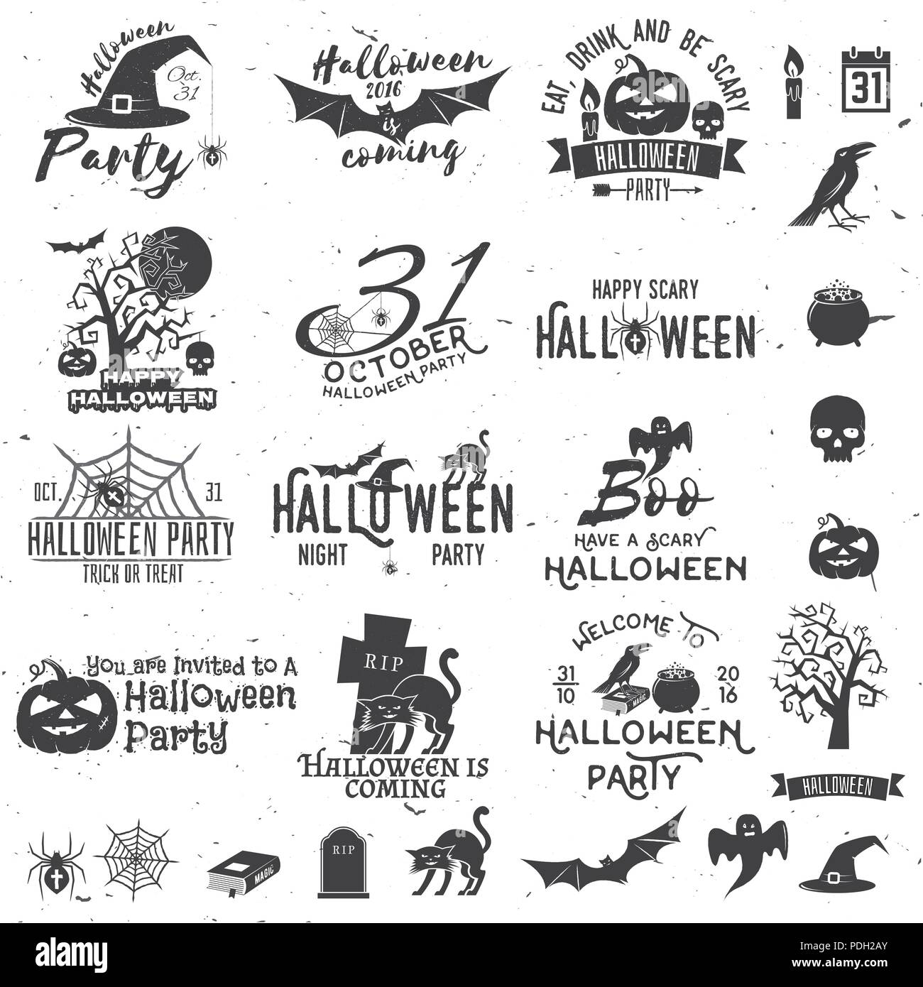 Set Of Halloween Party Concept And Design Elements Halloween Party
