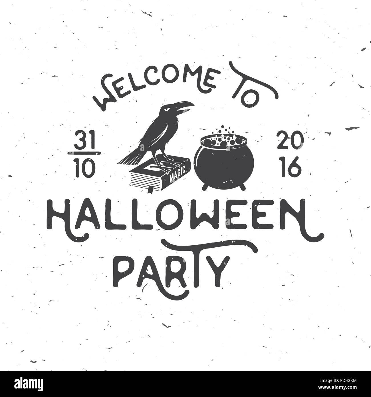 Welcome to Halloween party  Vector Halloween retro badge  Concept