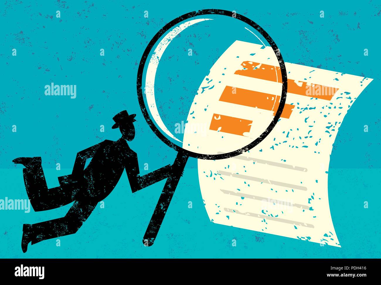 Examining Financial Data. A man looking through a magnifying glass at a financial document over an abstract background. - Stock Vector