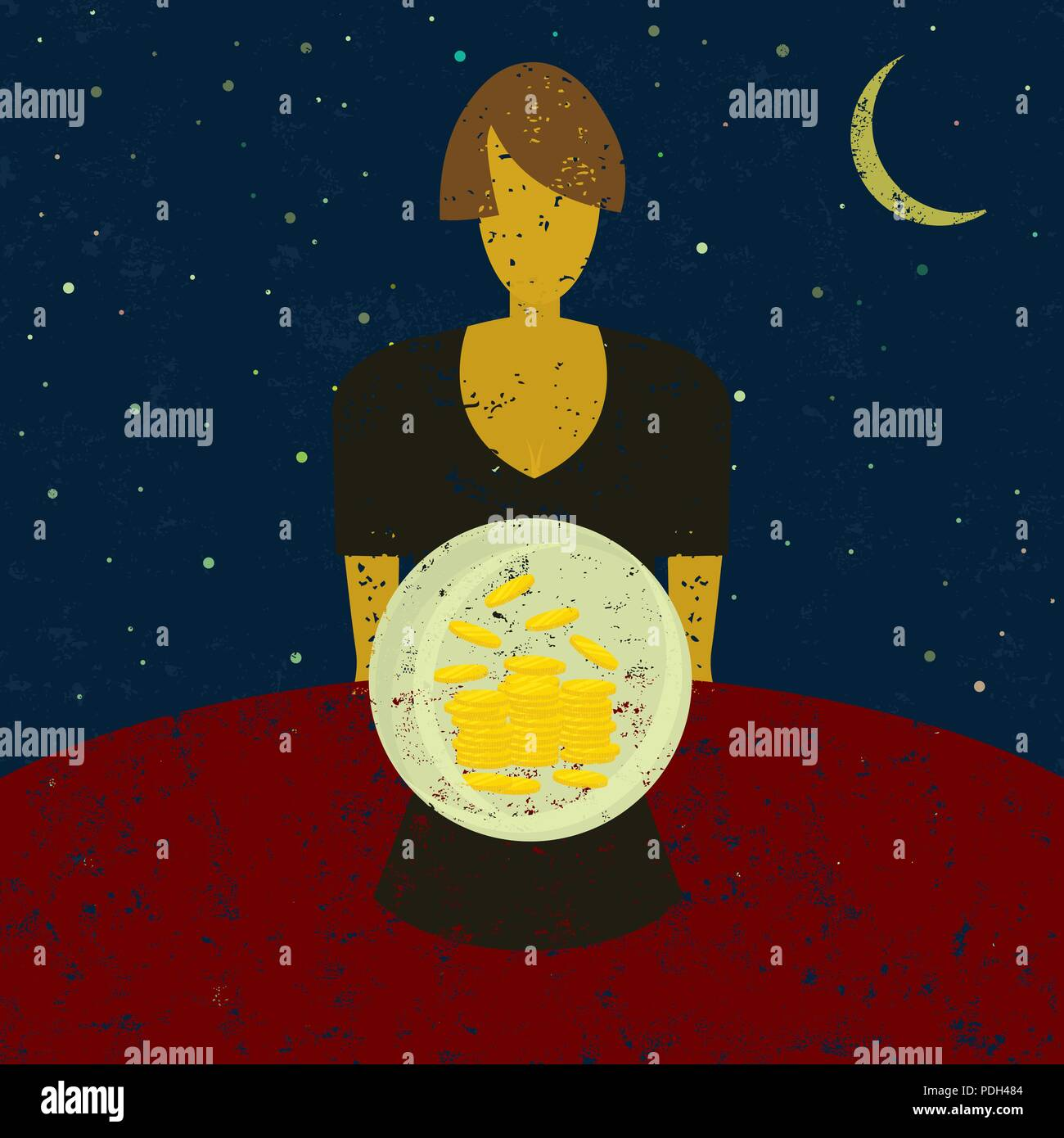 Financial Fortune Teller. A businesswoman looking into a crystal ball and seeing wealth in her future. - Stock Vector