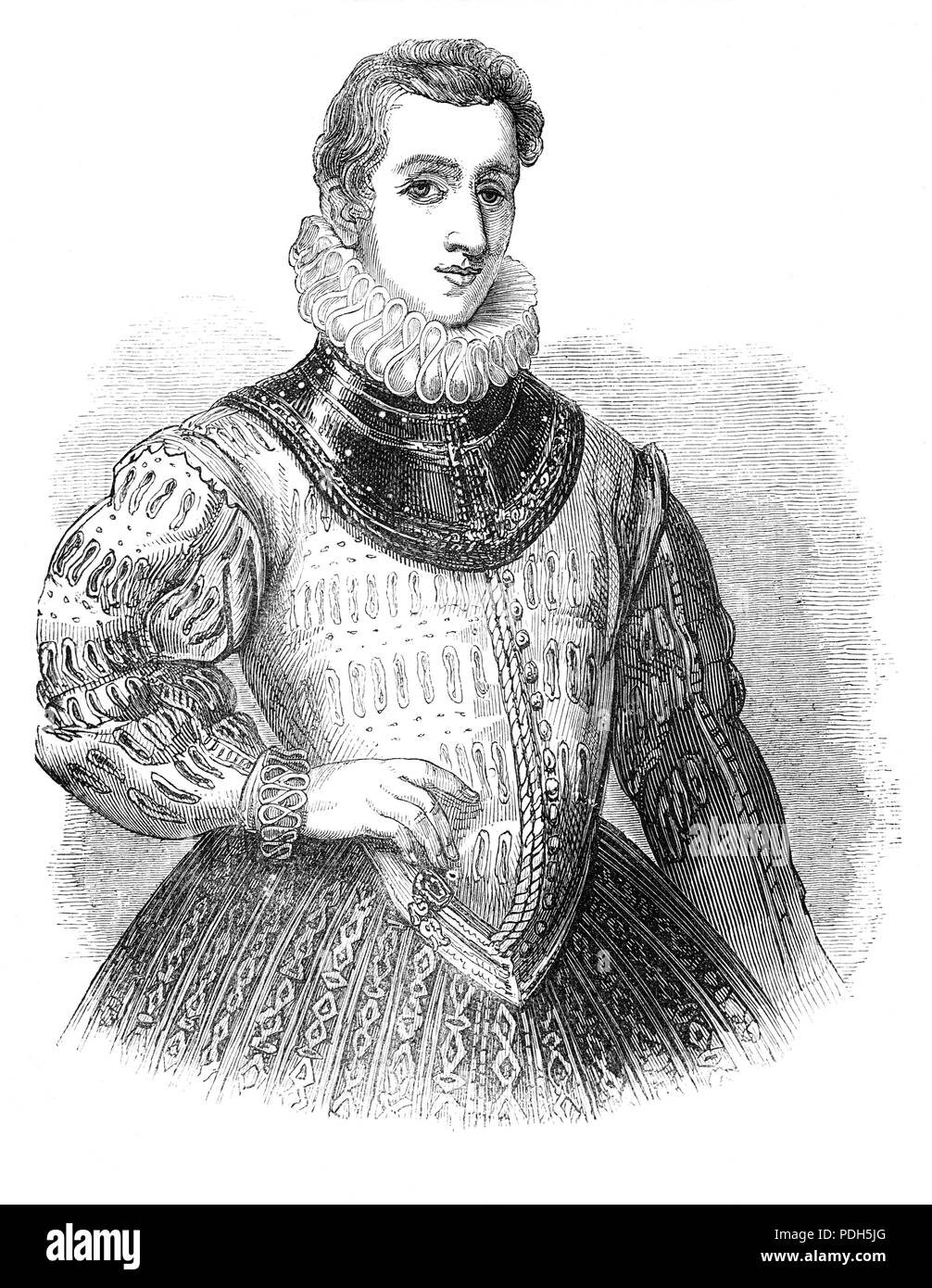 Sir Philip Sidney (1554-1586) was an English poet, courtier, scholar, and soldier, remembered as one of the most prominent figures of the Elizabethan age. His works include Astrophel and Stella, The Defence of Poesy (also known as The Defence of Poetry or An Apology for Poetry), and The Countess of Pembroke's Arcadia. In the Netherlands, he consistently urged boldness on his superior, his uncle the Earl of Leicester. During the Battle of Zutphen in 1586, he was shot in the thigh and died of gangrene 26 days later, at the age of 31. - Stock Image