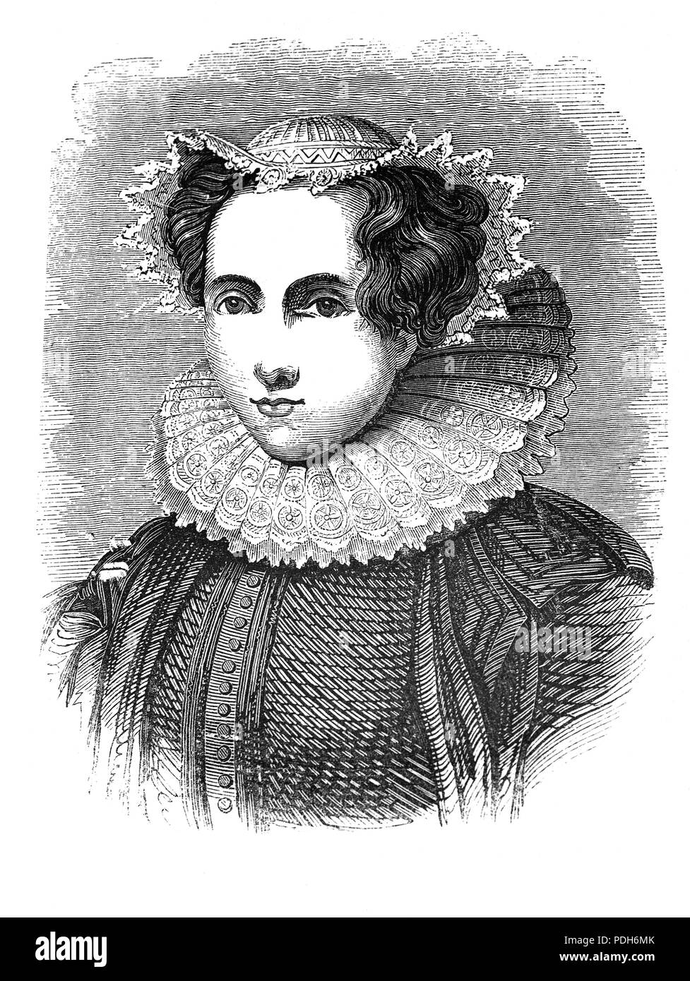 Mary, Queen of Scots (1542-1587), also known as Mary Stuart, reigned over Scotland from 14 December 1542 to 24 July 1567.  Mary, the only surviving legitimate child of King James V, was six days old when her father died and she acceded to the throne. She spent most of her childhood in France while Scotland was ruled by regents. Mary returned to Scotland, arriving in Leith on 19 August 1561. Four years later, she married her first cousin, Henry Stuart, Lord Darnley and in June 1566 they had a son, James. The following year Darnley  was found murdered in the garden. - Stock Image