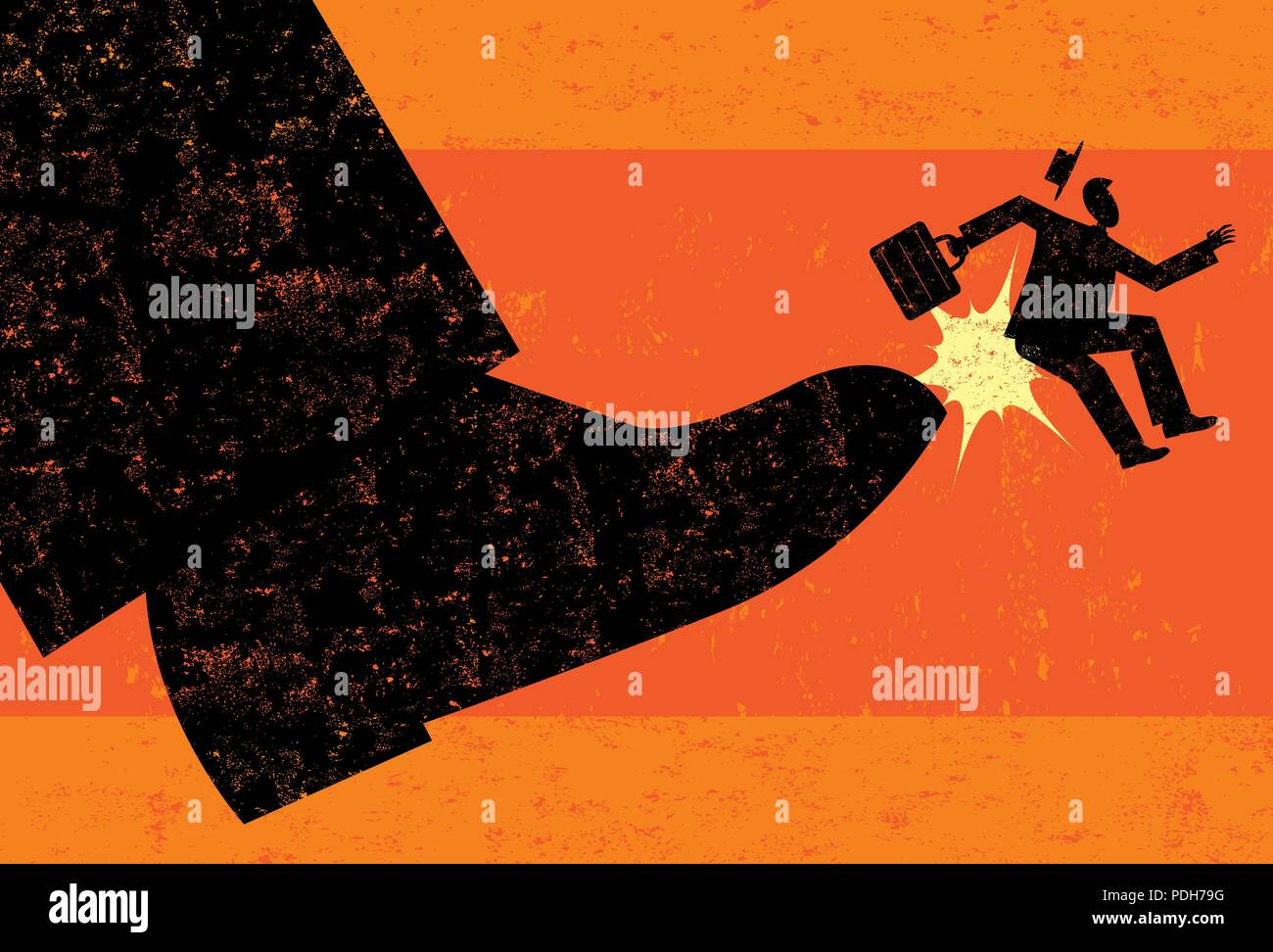 Getting Fired. A businessman getting booted from his job. - Stock Vector