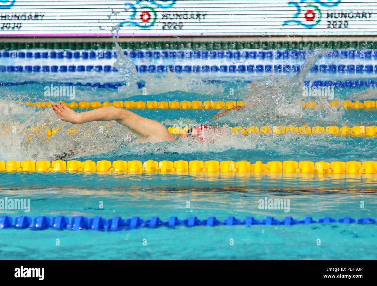 Glasgow, UK : 9th August 2018 - GBR 4x100m Medley Relay Womans team gets bronze medal on European Championships 2018 after heroic battle. Credit: Pawel Pietraszewski / Alamy Live News - Stock Image