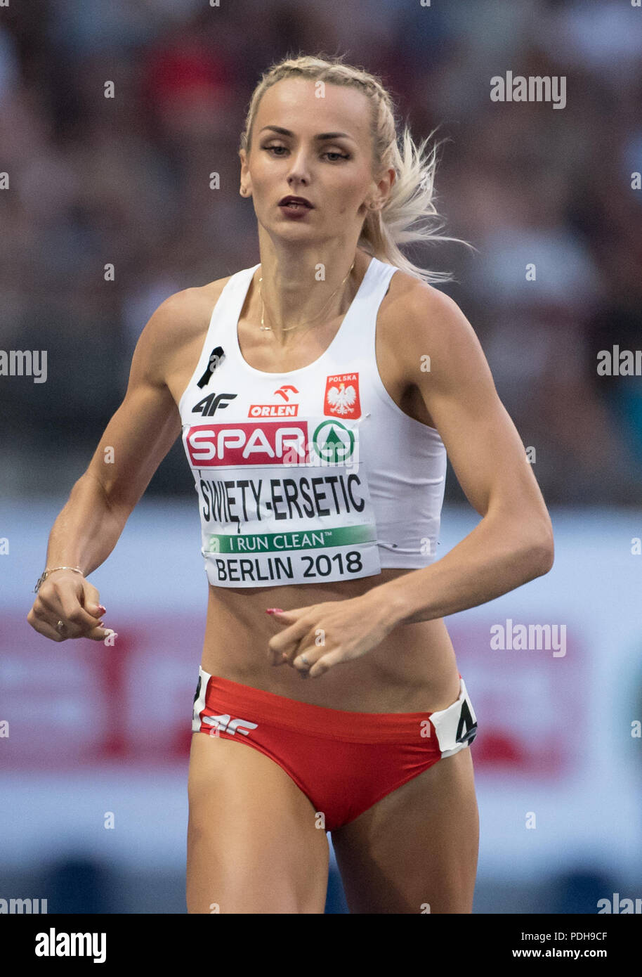 Berlin, Germany. 09th Aug, 2018. Athletics, European Athletics Championships, Olympic Stadium: 400 m, semi-finals, women: Justyna Swiety-Ersetic from Poland in action. Credit: Sven Hoppe/dpa/Alamy Live News - Stock Image
