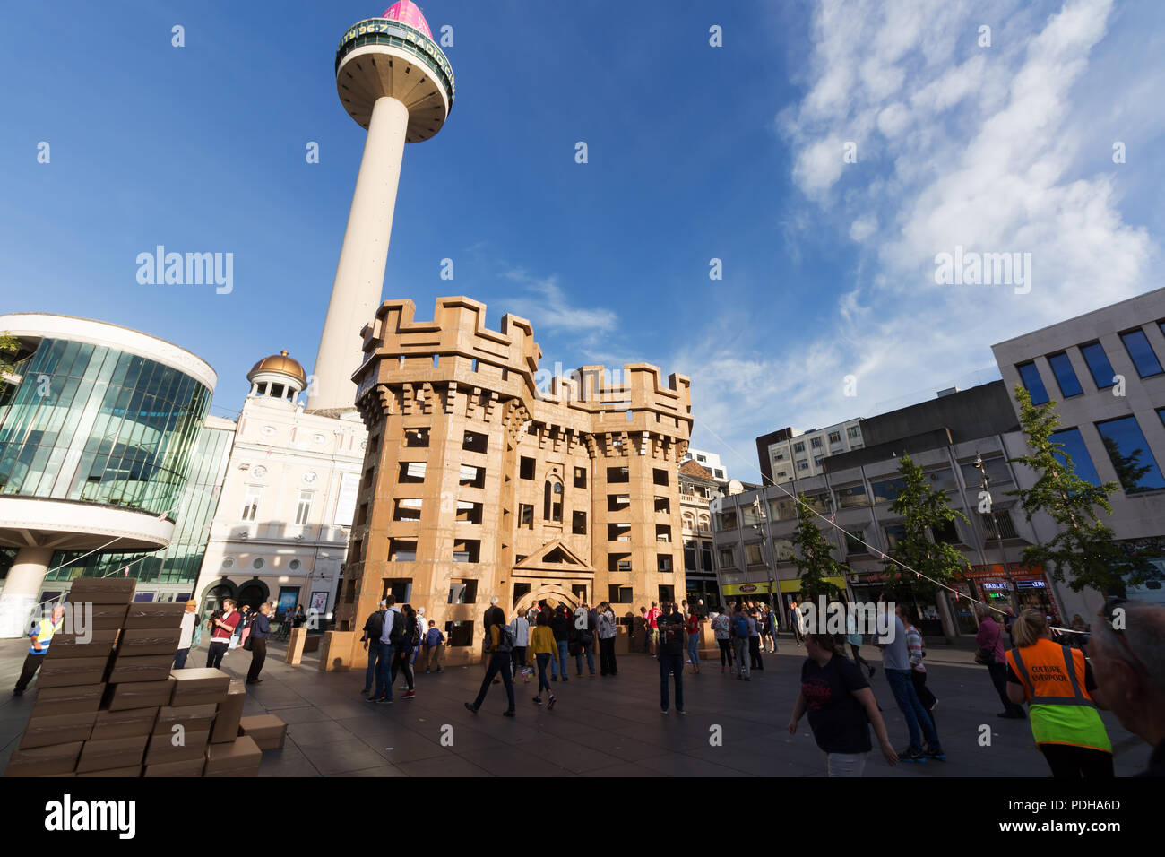 Liverpool, UK. 9th August, 2018. Liverpool's lost castles being built entirely from cardboard boxes. Located in Williamson Square, the castle is built inspired by Liverpool Castle, which stood at the top of modern day Lord Street, and is thought to have been built early in the 13th century. Credit: Ken Biggs/Alamy Live News. Stock Photo