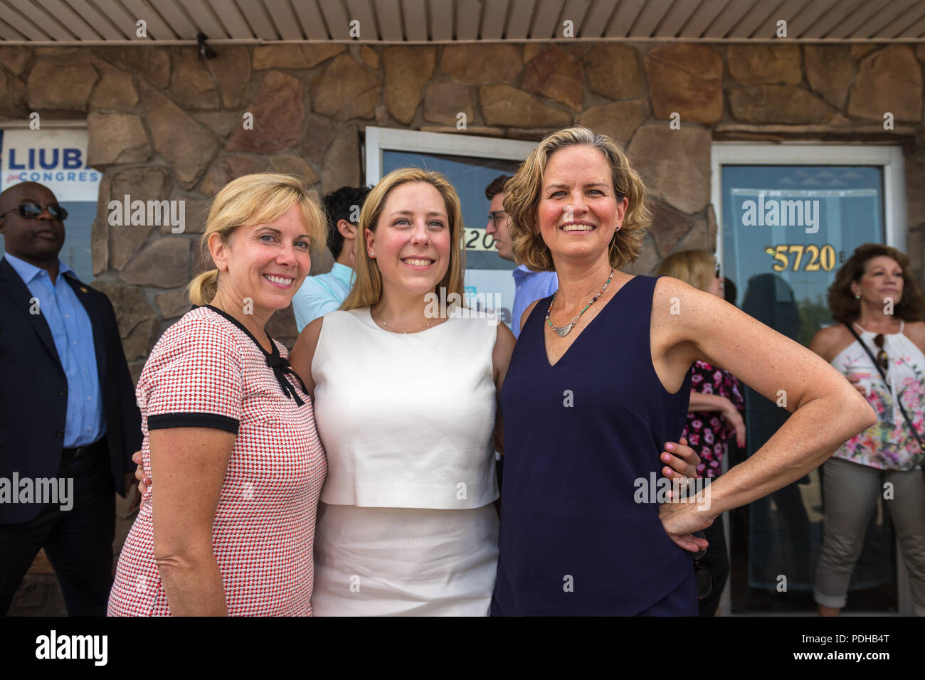 Massapequa, New York, USA. 5th Aug, 2018. L-R, Democrats LAURA GILLEN, Hempstead Town Supervisor; LIUBA GRECHEN SHIRLEY, Congressional candidate for NY 2nd District; and LAURA CURRAN, Nasssau County Executive, pose at campaign office opening, aiming for a Democratic Blue Wave in November midterm elections. Credit: Ann Parry/ZUMA Wire/Alamy Live News - Stock Image