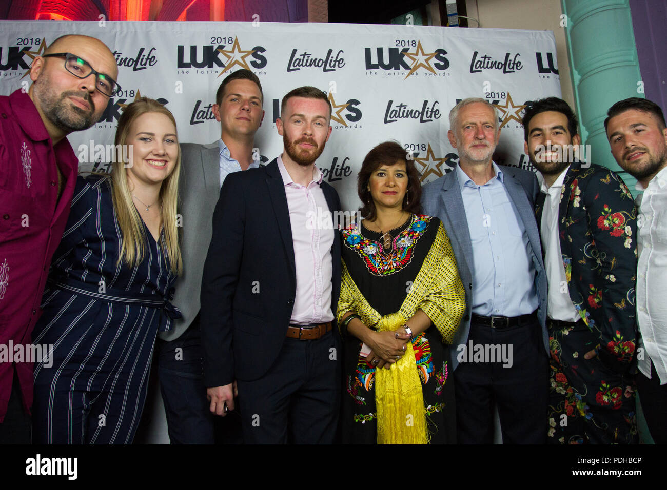 The Troxy, London, UK. 9th August 2018. Leader of the opposition attends the LUKAS Awards with his wife. Credit: Brayan Lopez/Alamy Live News Stock Photo