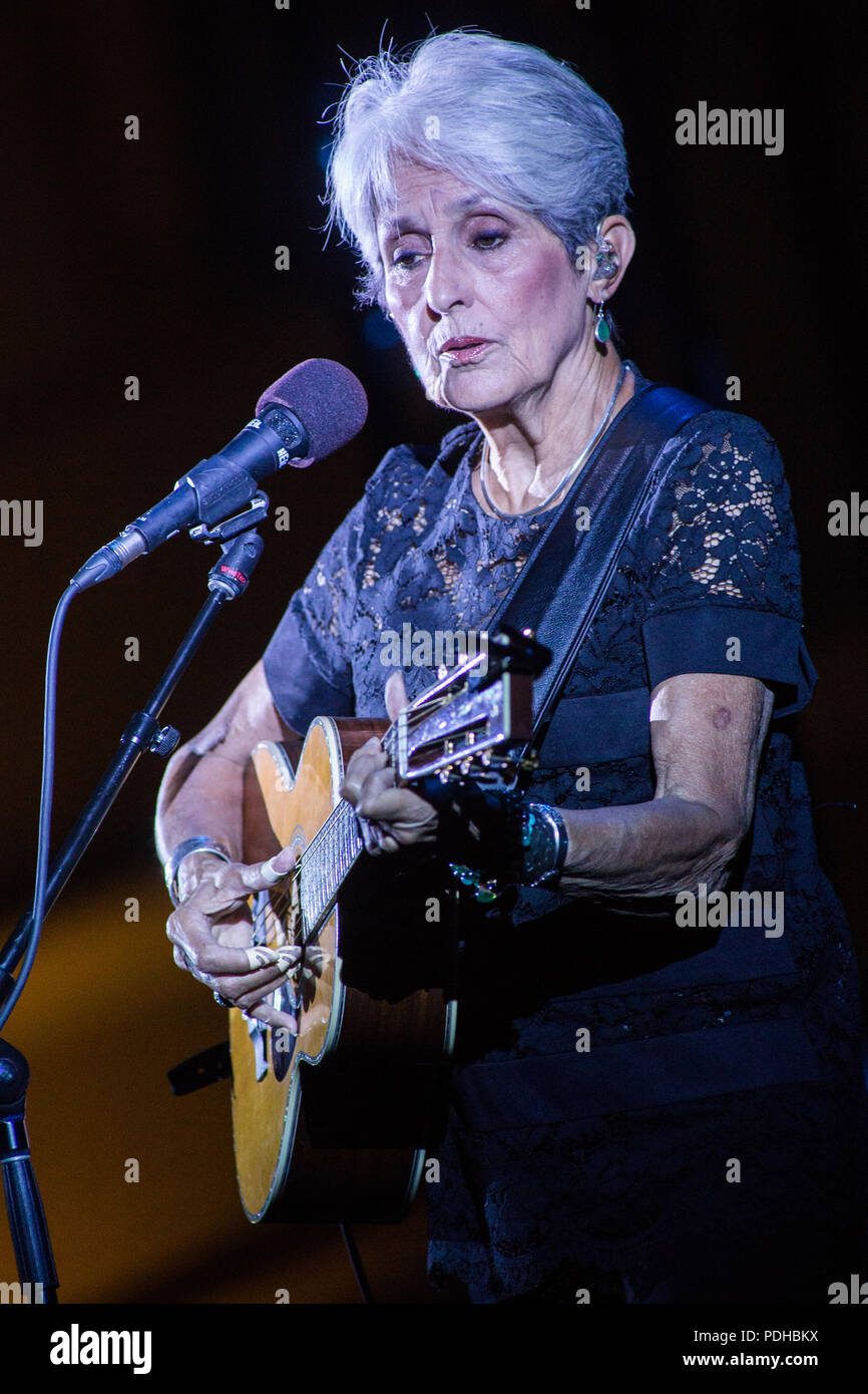 Bra Italy 09 August 2018 The Legendary American Singer Songwriter And Political Activist Joan Baez Perform Live On Stage At Cortile Dell Agenzia Di Pollenzo During The Fare Thee Well Tour 2018 Credit Rodolfo