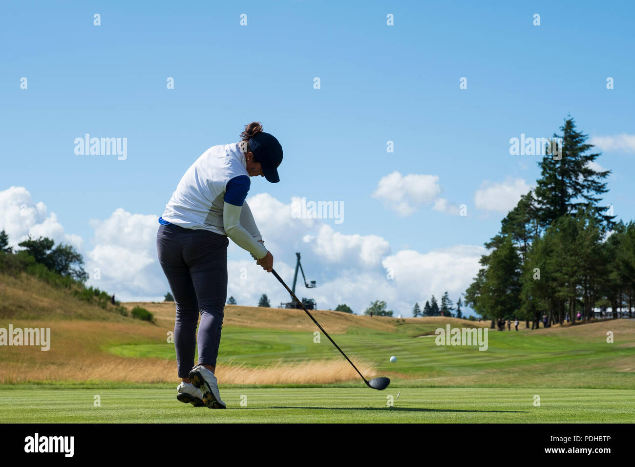 Gleneagles, Scotland, UK; 9 August, 2018.  Day two of European Championships 2018 competition at Gleneagles. Men's and Women's Team Championships Round Robin Group Stage - 2nd Round. Four Ball Match Play format. Manon Molle of France tees of on the 18th hole Stock Photo