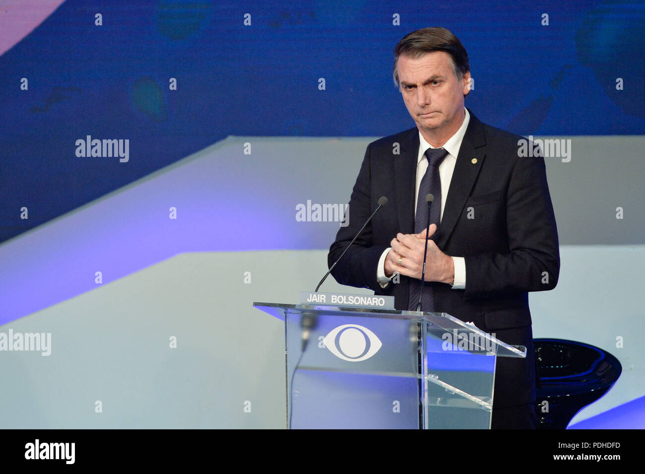 Sao Paulo, Brazil, on August 9, 2018. Brazilian presidential candidate Jair Bolsonaro (PSL), speaks during the first presidential debate ahead of the October 7 general election, at Bandeirantes television network in Sao Paulo, Brazil, on August 9, 2018.  (PHOTO: LEVI BIANCO/BRAZIL PHOTO PRESS) - Stock Image