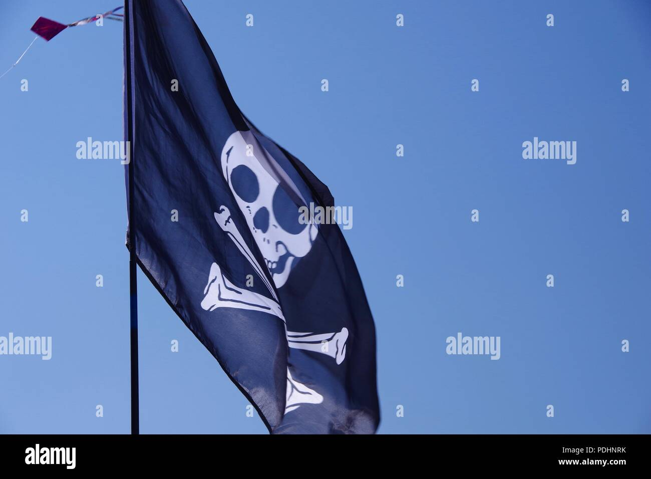 Jolly Roger Pirate Flag Flying against a Blue Sky. Sidmouth Folk Festival, East Devon, UK. August, 2018. Stock Photo