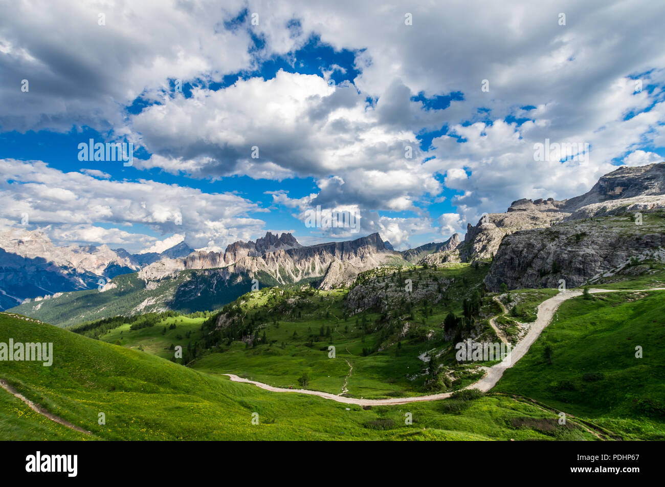 Dolomites mountains, North Italy. Scenic view in Dolomiti, Alto Adige, South Tirol - Stock Image