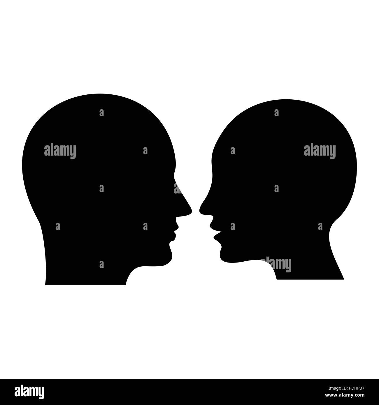 Black silhouette of man and woman head