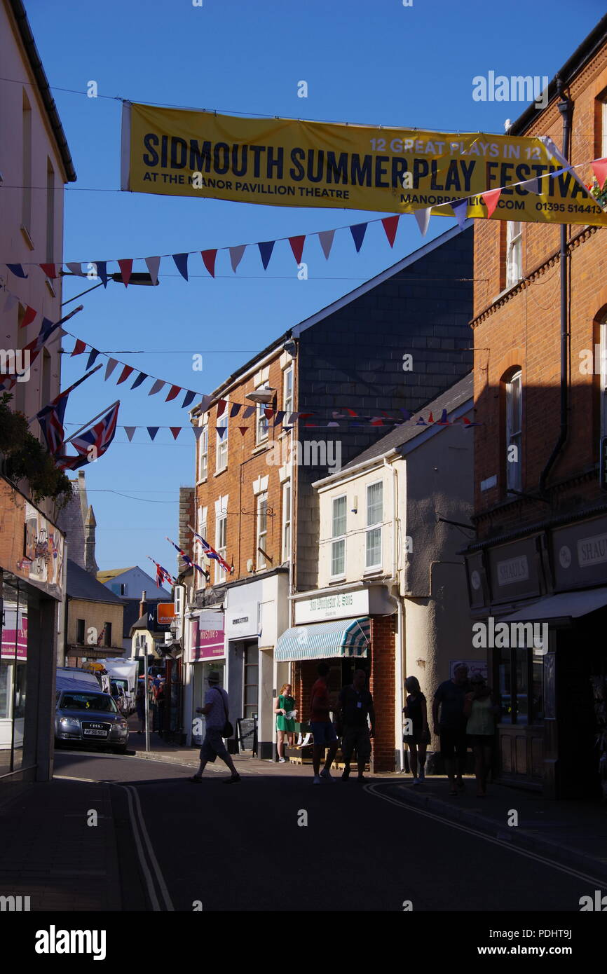 Town Fore Street at Sidmouth Folk Festival, East Devon, UK. August, 2018. Stock Photo