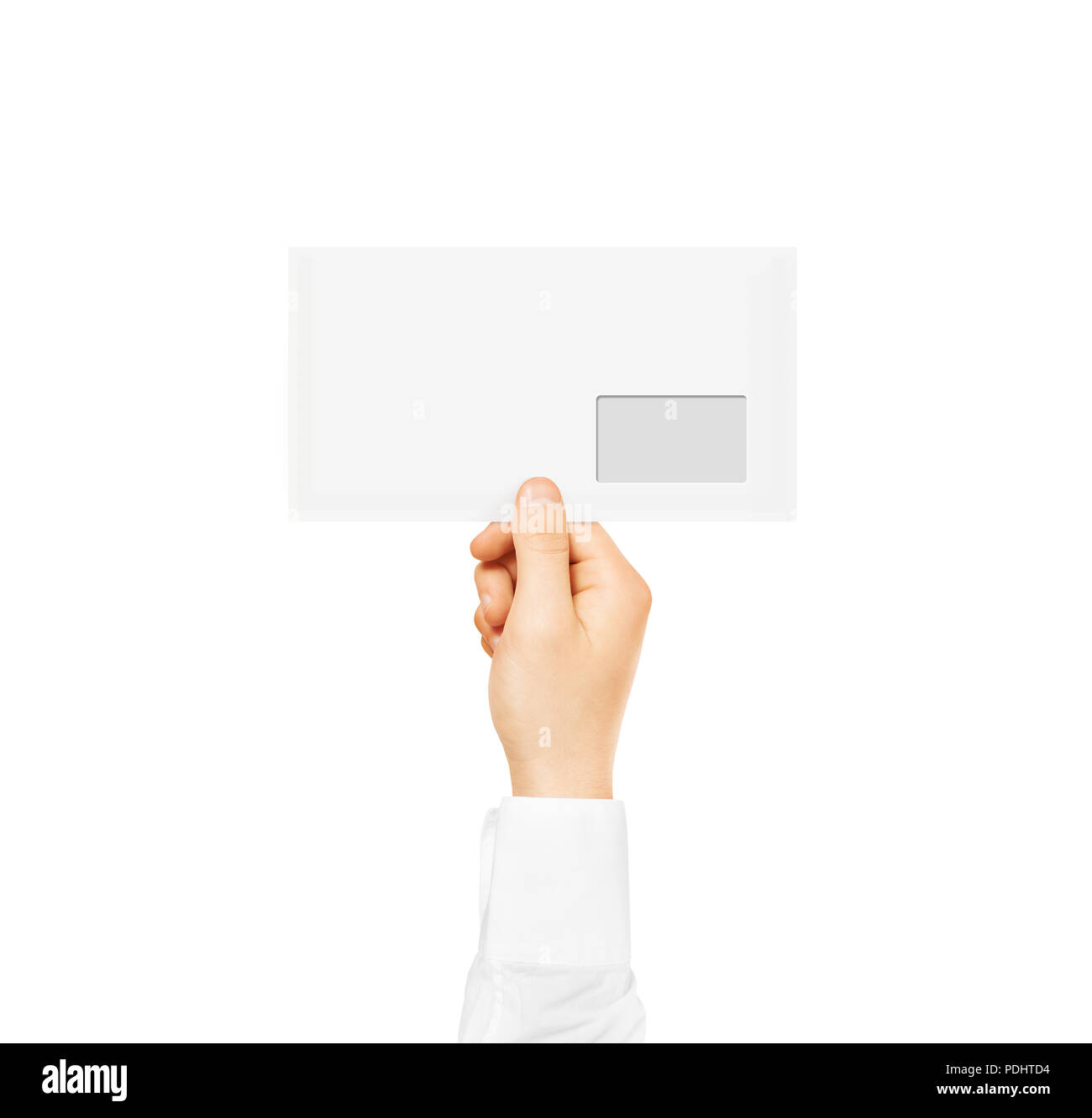 white blank envelope mock up holding in hand empty post document