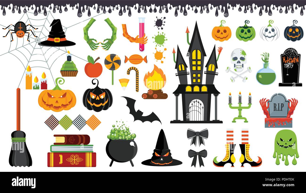 vector icons for decorating greeting and promotional products for Halloween - Stock Vector