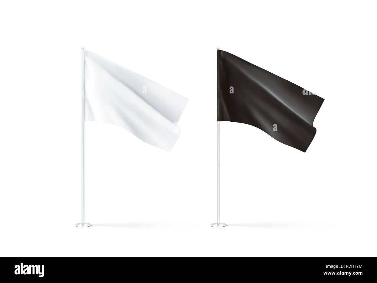 Blank black and white flag mockup set, waving, 3d rendnering. Clear rippled flagpole design mock up isolated. Pole with banner on wind. Business branding cloth pennon. Clean pillar logo presentation. - Stock Image