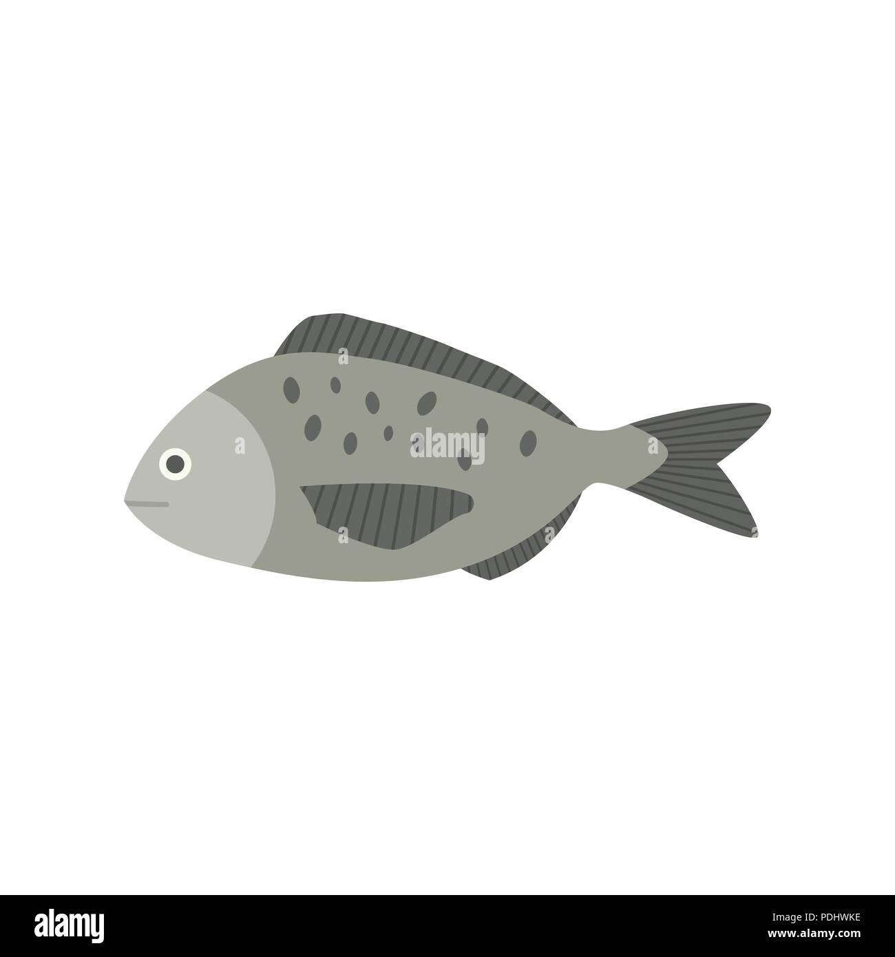 Gray fish icon in flat design - Stock Vector