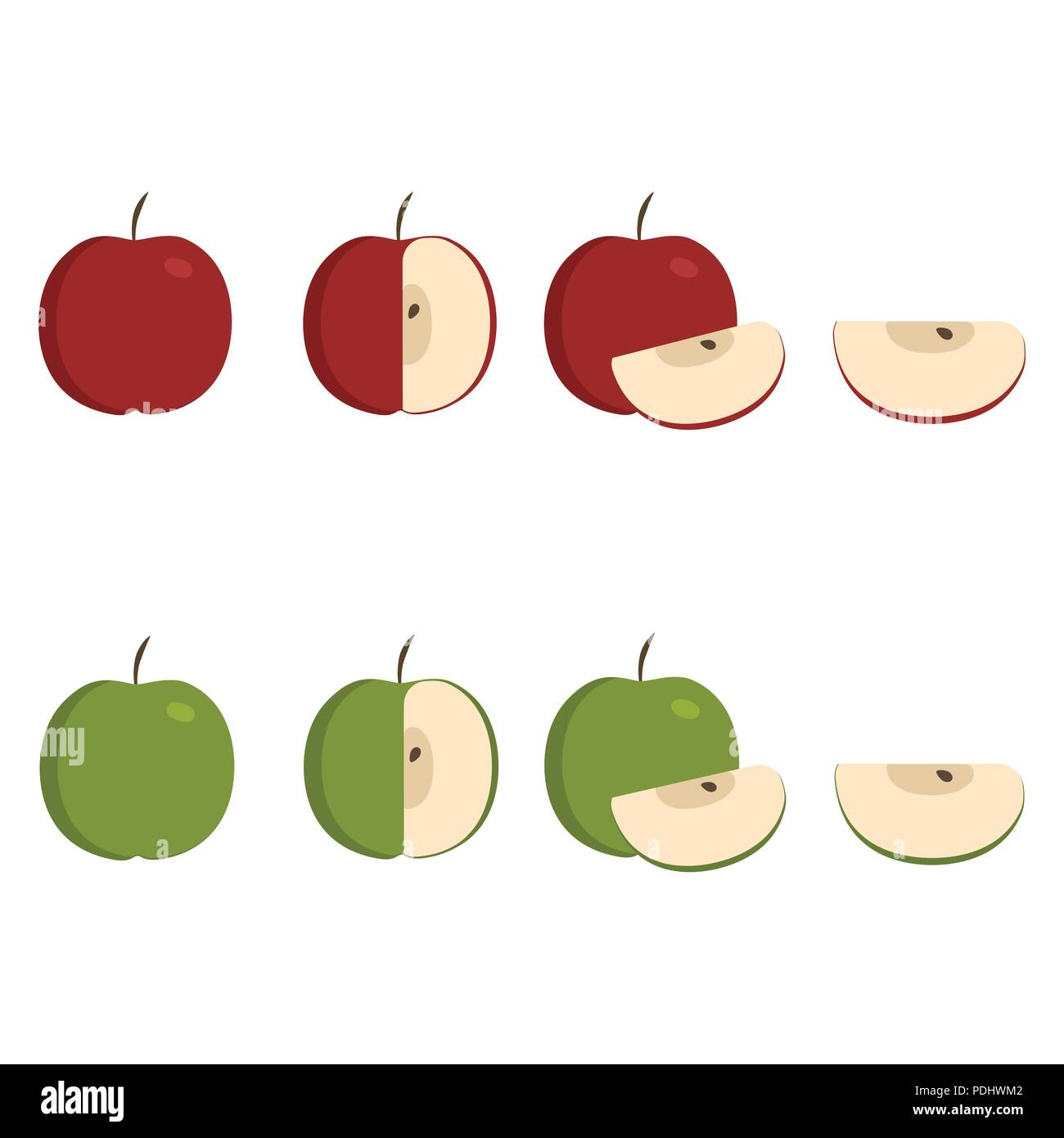 Green and red apple icons set in flat design  Whole, half and slice