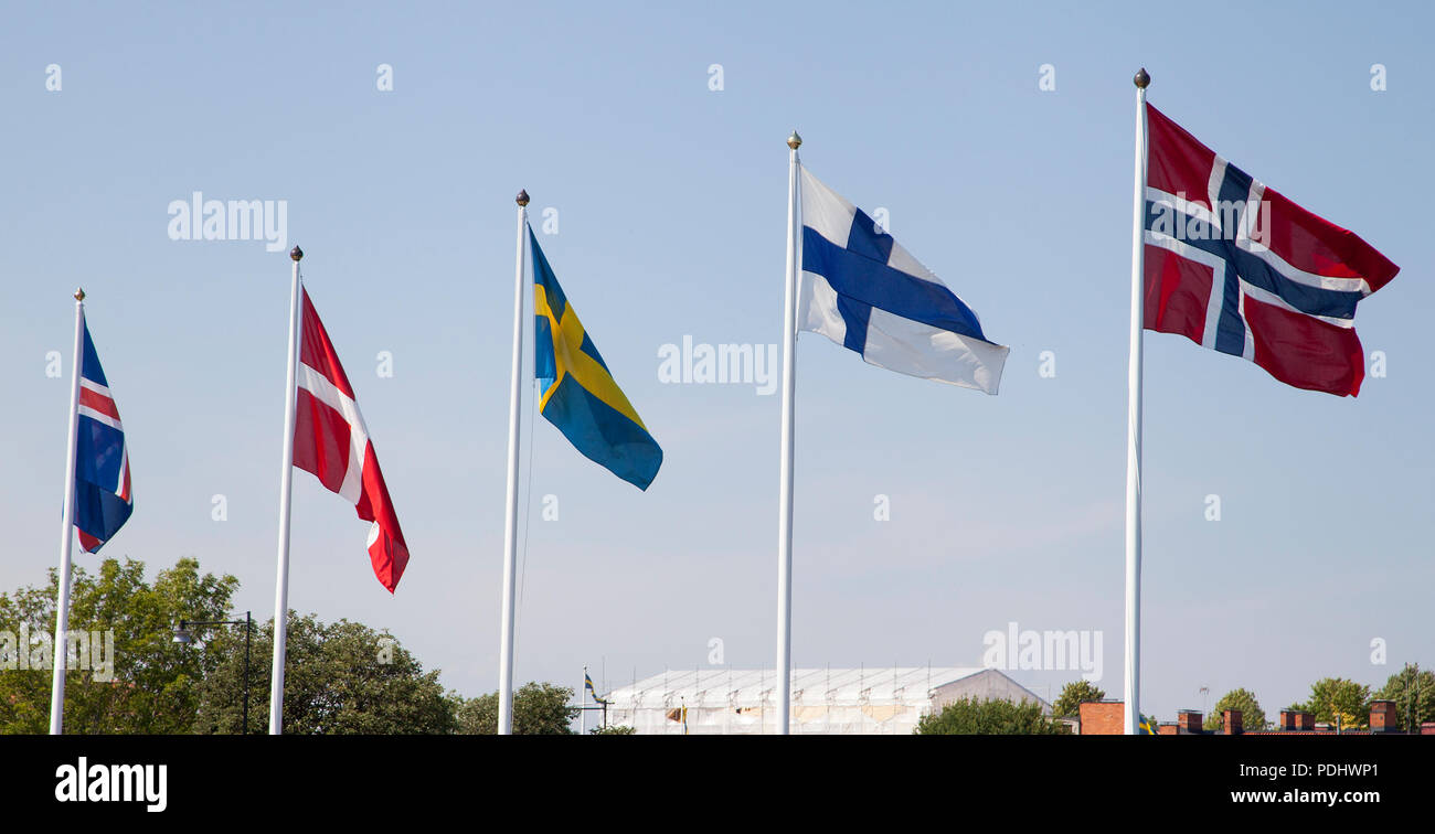NORDIC FLAG on flagpole, Iceland,Denmark,Swede,Finland and Norway 2018 - Stock Image