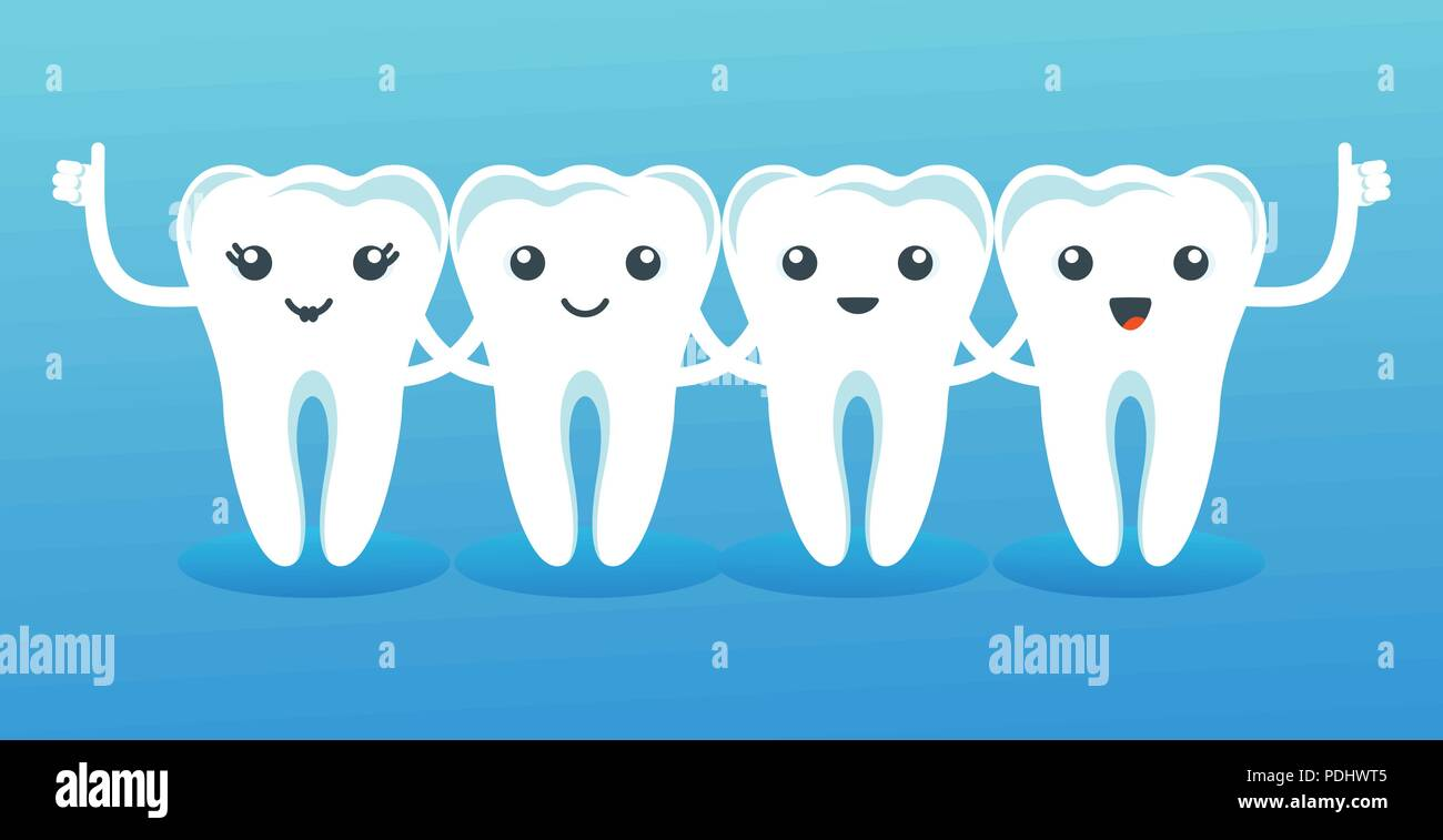 Funny cute characters teeth. Pediatric dentistry, oral care - Stock Image