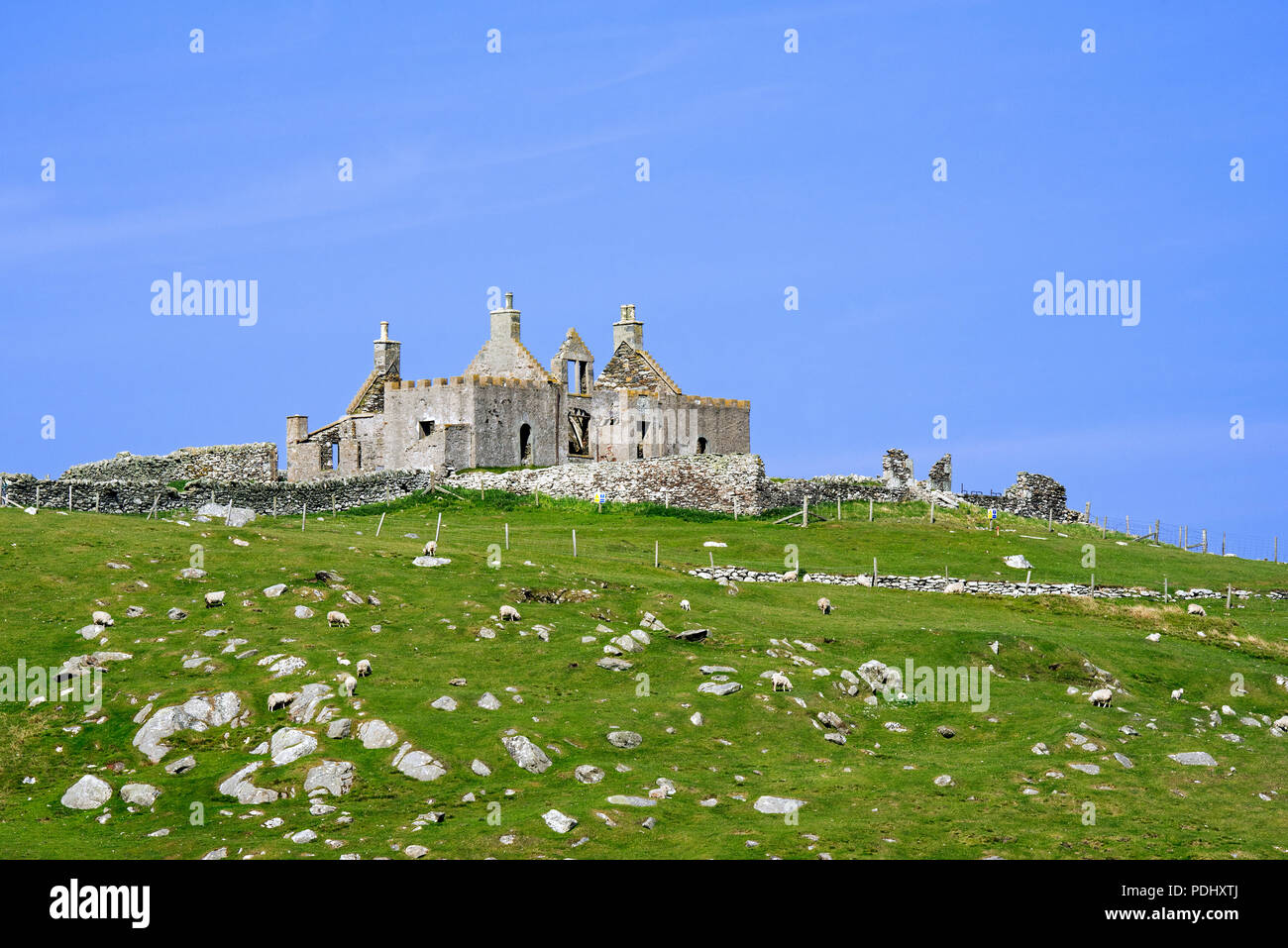 Ruin of the 18th century Windhouse, most haunted house in Shetland, Yell, Shetland Islands, Scotland, UK - Stock Image