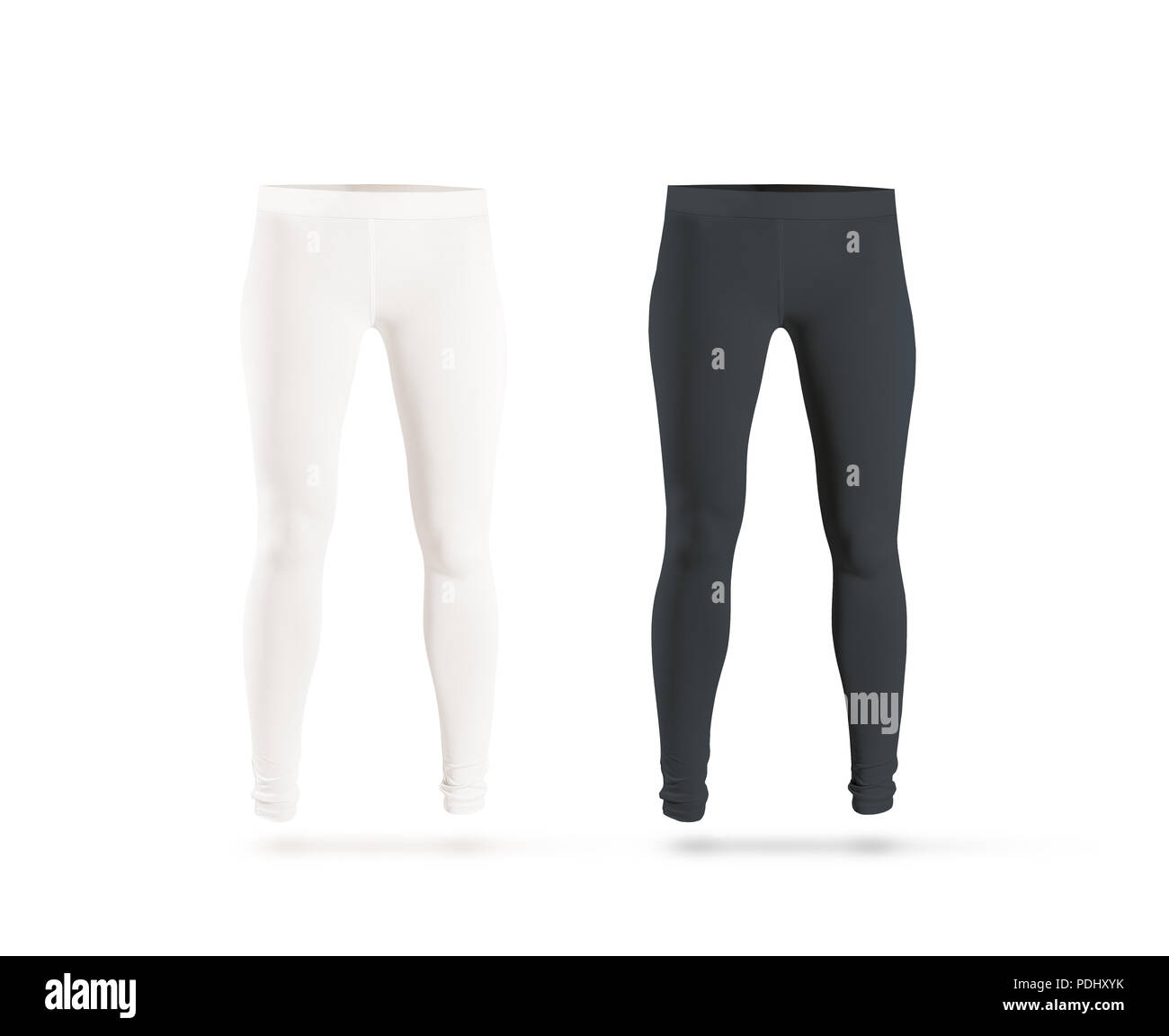 Blank leggings mockup set, black, white, isolated. Clear leggins template. Cloth pants design presentation. Sport pantaloons stretch tights model wearing. Slim legs in apparel. - Stock Image