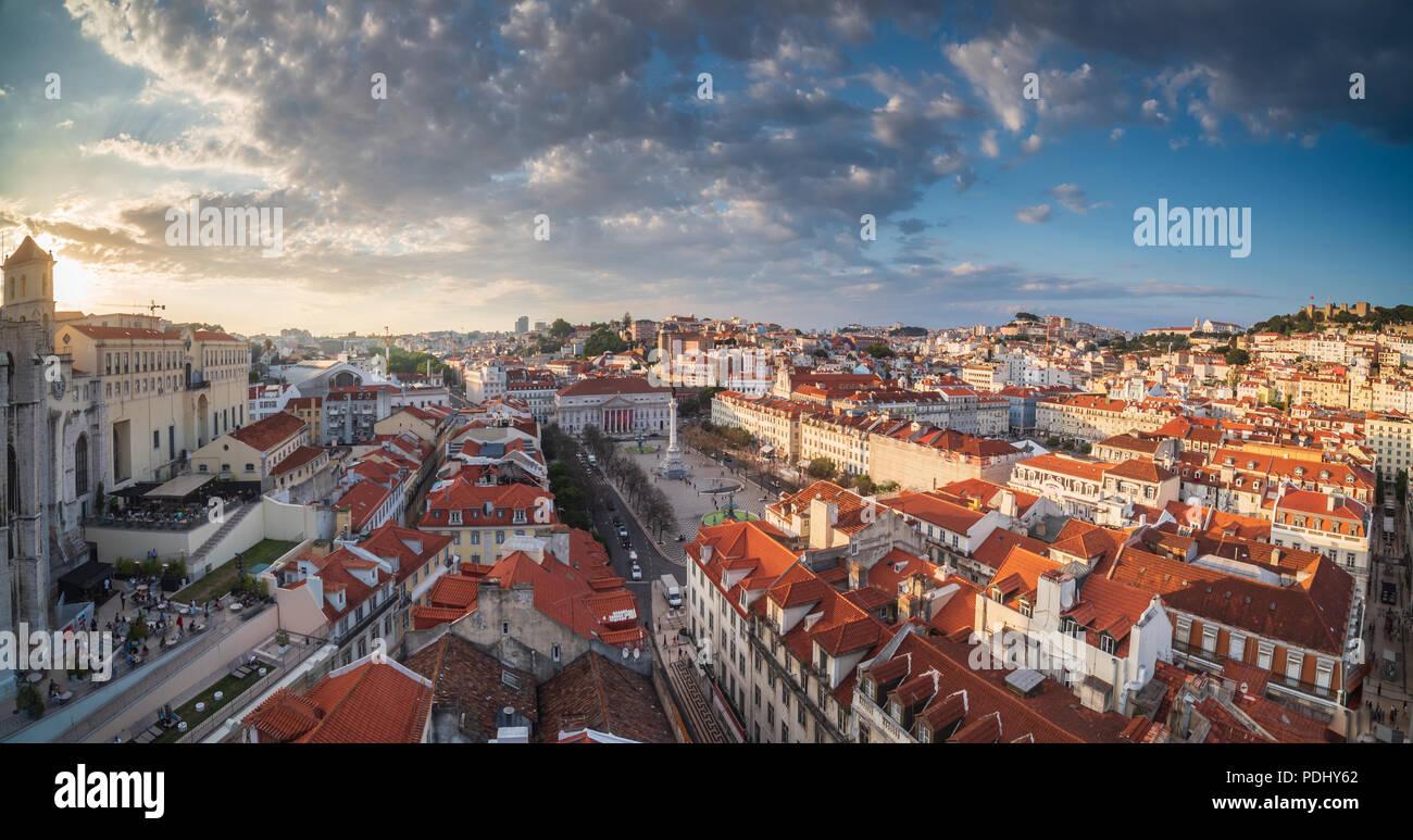 Lisbon panorama sunset Stock Photo