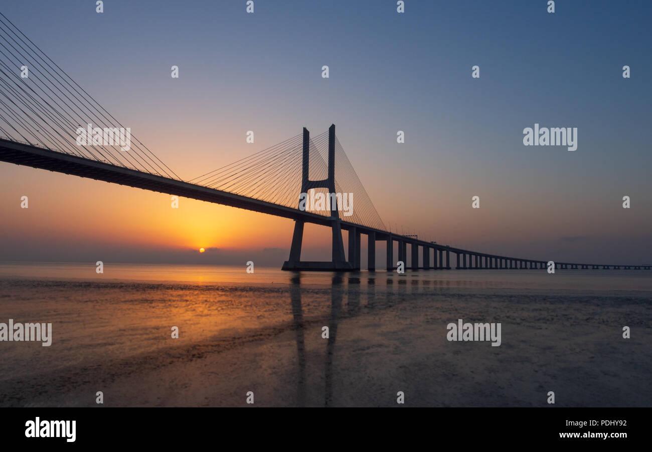 Vasco da Gama bridge sunrise Stock Photo