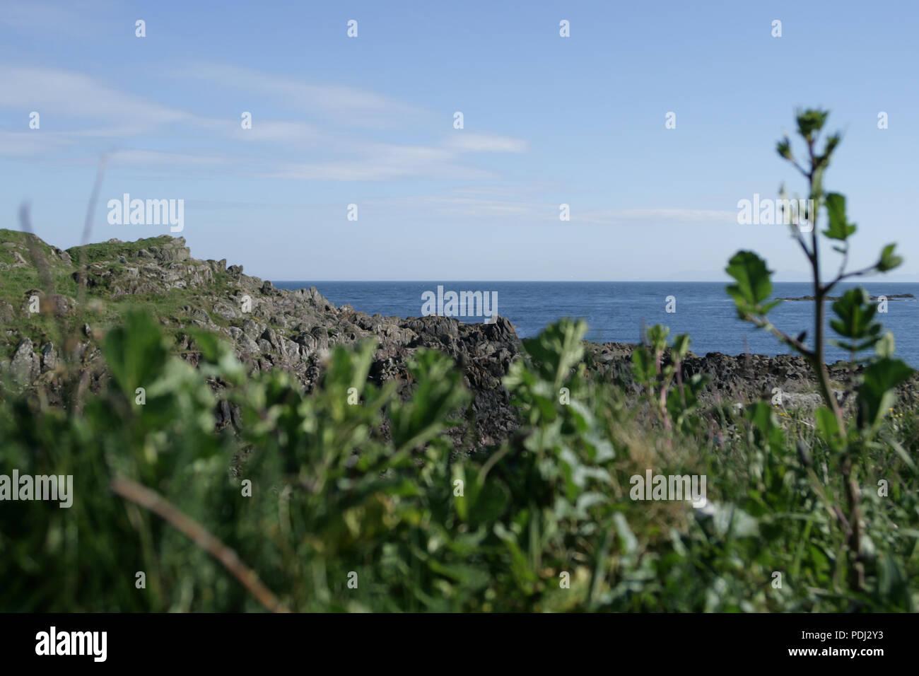 Craggy rocks on the Scottish coastline - Stock Image